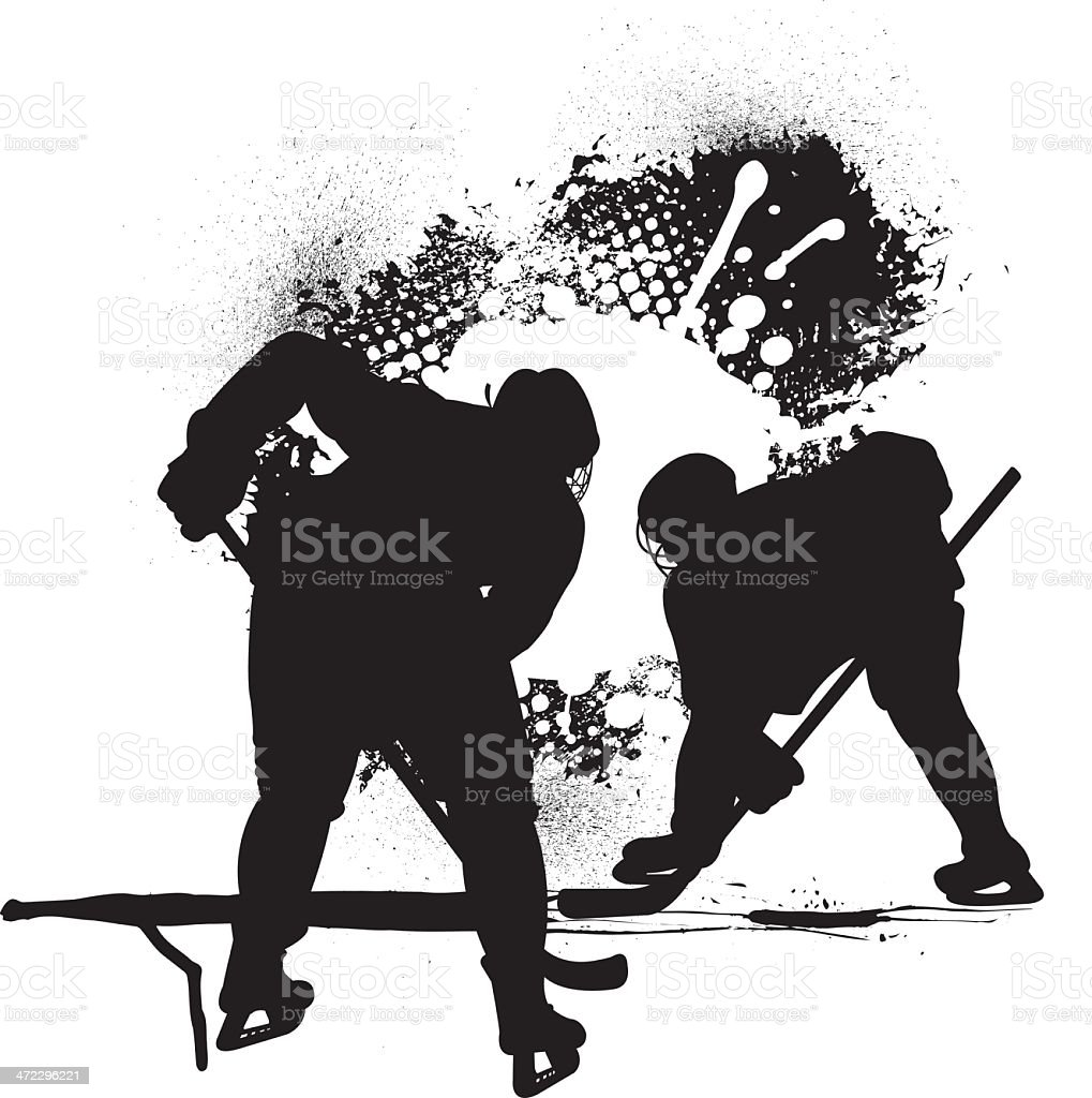 Hockey Players - Face Off vector art illustration