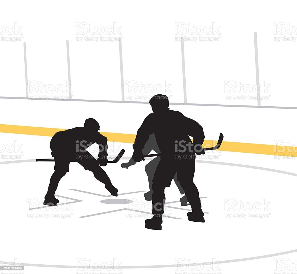 Hockey Players Face Off Vector Silhouette vector art illustration