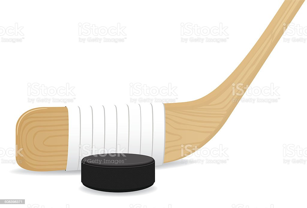 Hockey Puck and Stick vector art illustration