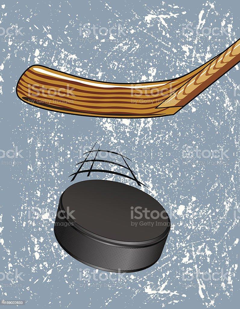 Hockey Puck on Ice royalty-free stock vector art