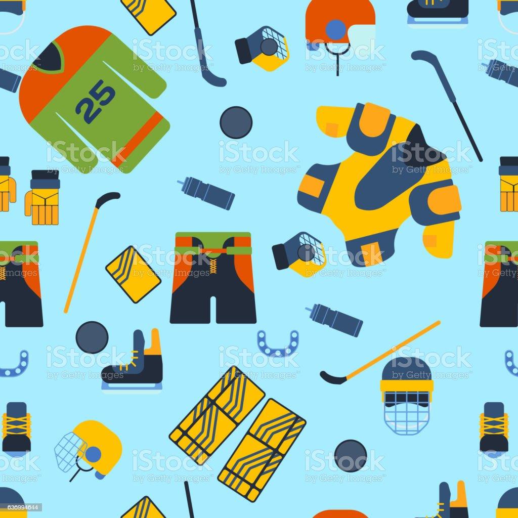 Sports seamless pattern with hockey equipment flat. Professional...