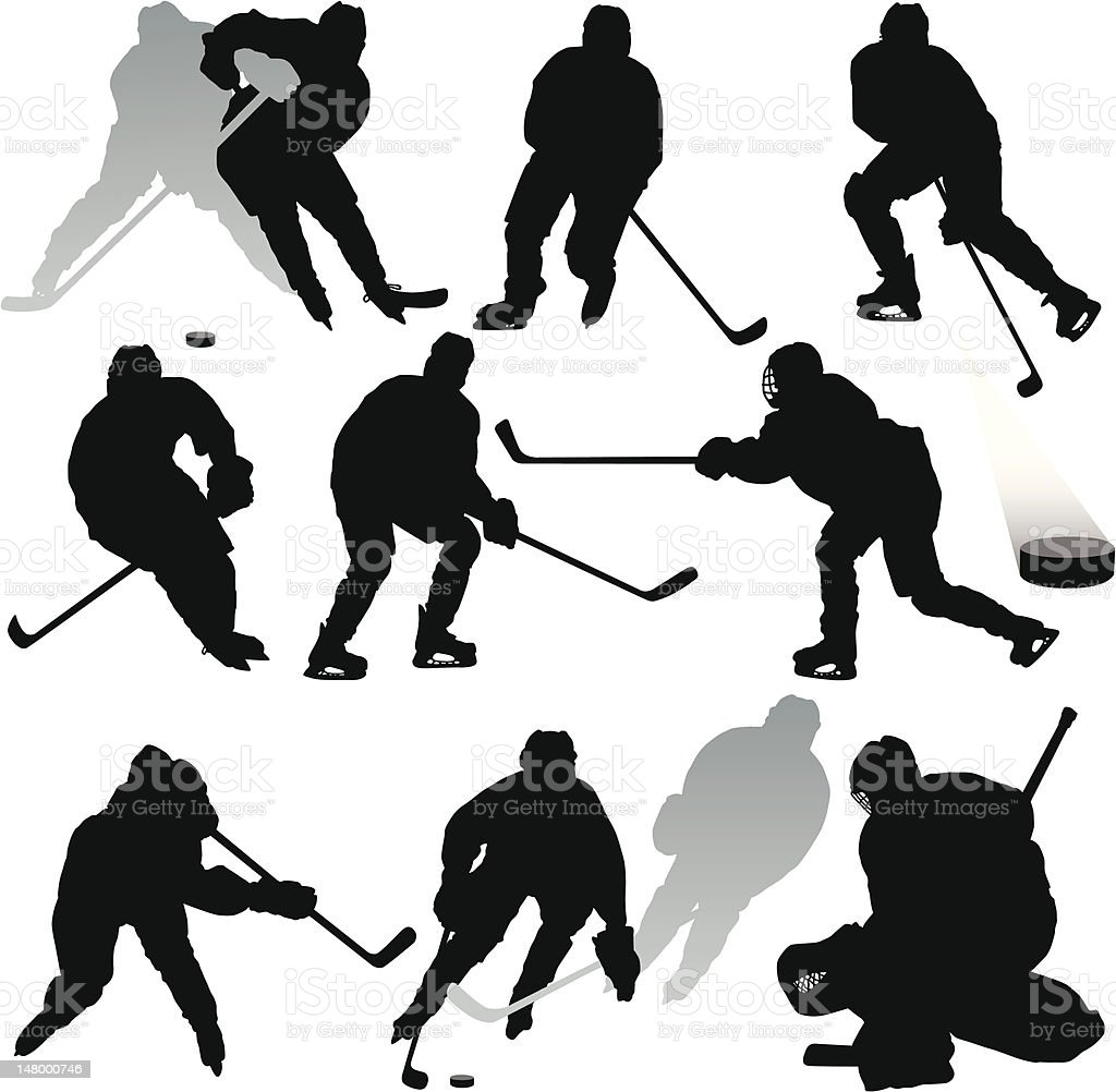Hockey Silhouettes vector art illustration