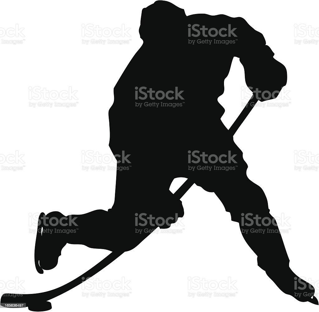 Hockey Slapshot Silhouette royalty-free stock vector art