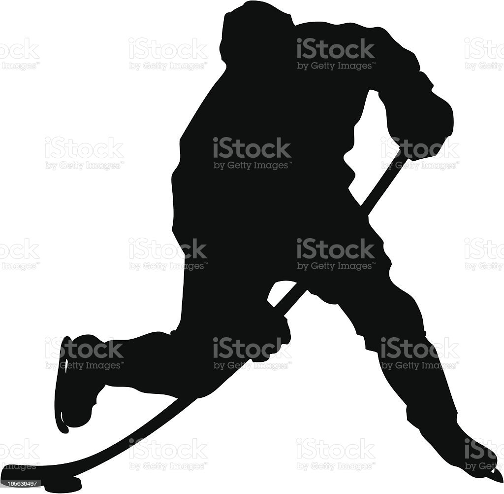 Hockey Slapshot Silhouette vector art illustration