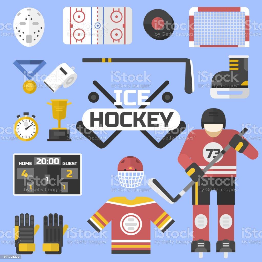 Hockey sport icons equipment design vector illustration. Game symbol...