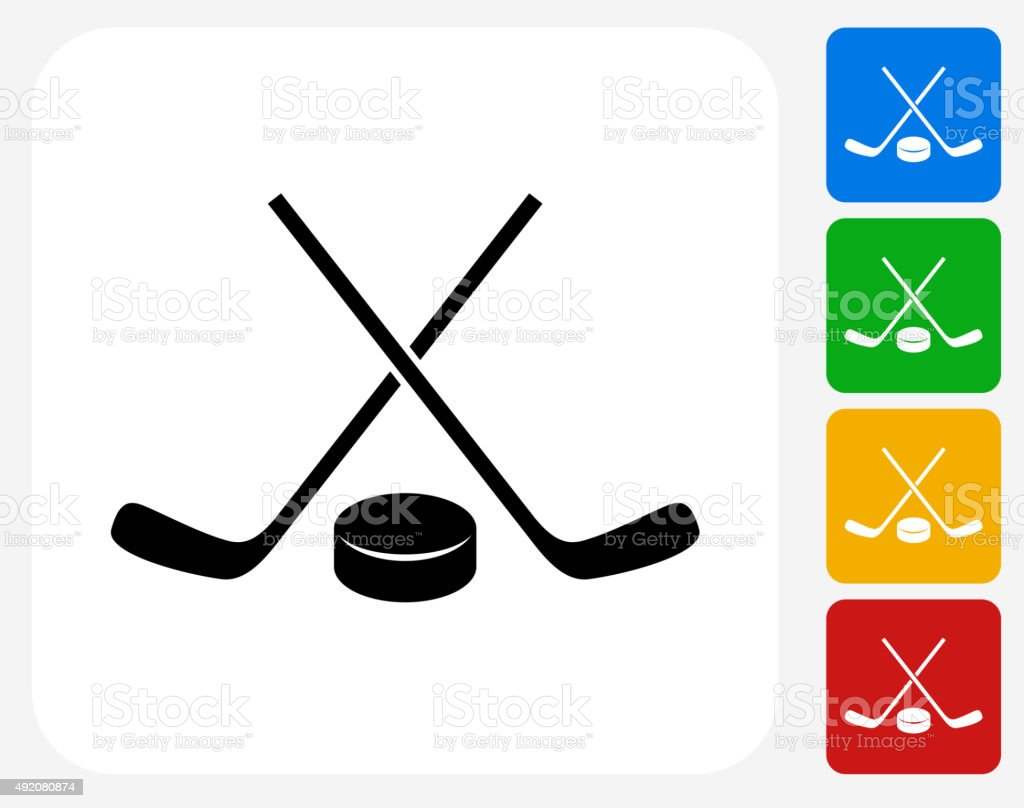 Hockey Stick and Puck Icon Flat Graphic Design vector art illustration