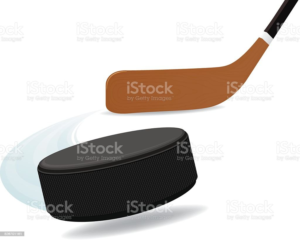 Hockey Stick and Puck vector art illustration