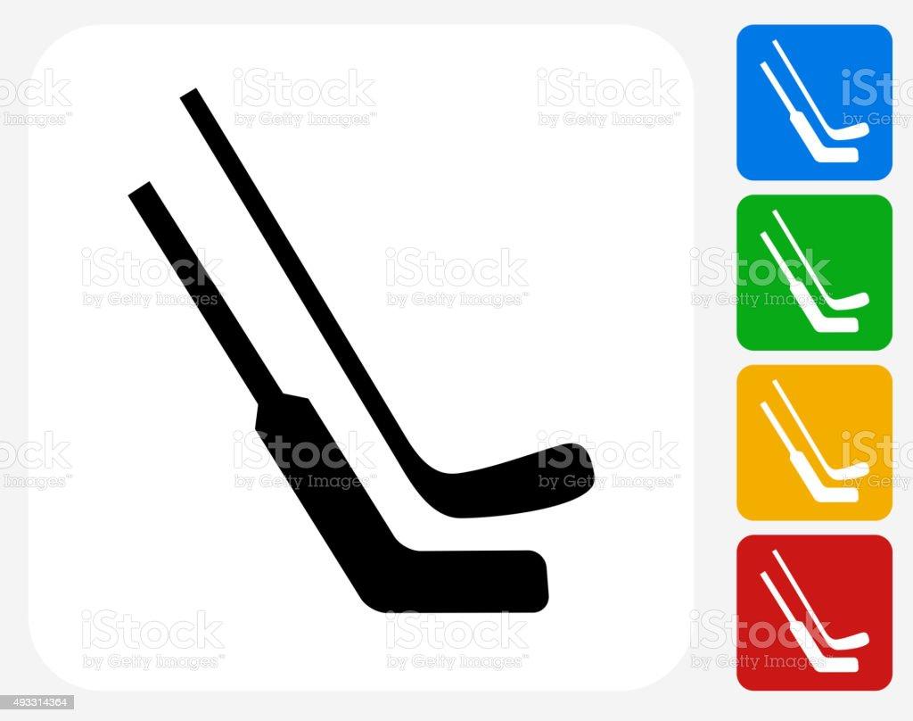 Hockey Sticks Icon Flat Graphic Design vector art illustration