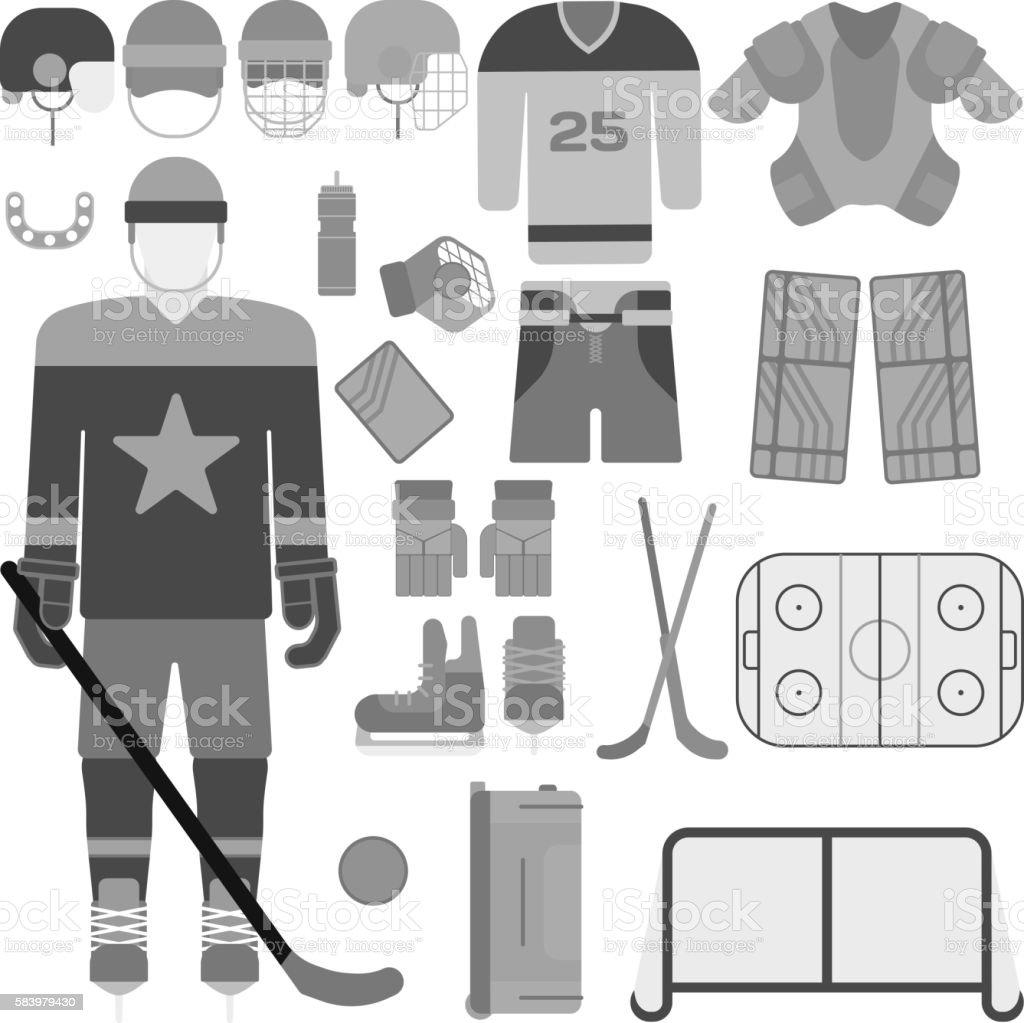 Hockey uniform set. Vector hockey uniform and accessory in flat...