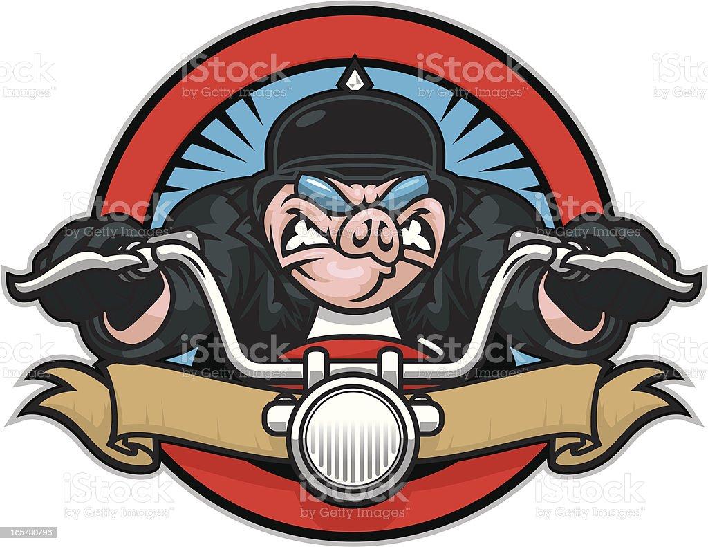 Hog on motorcycle design vector art illustration