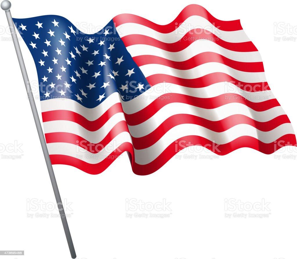 Hoisted United States flag in white background vector art illustration