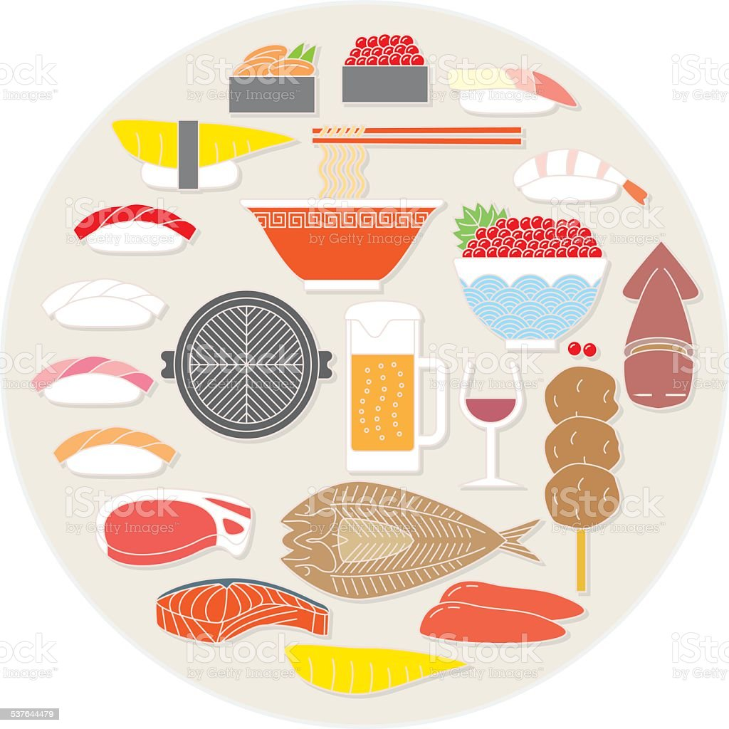 Hokkaido food. Japan vector art illustration