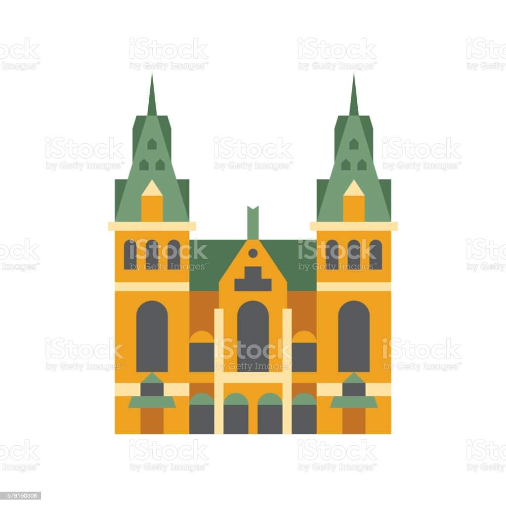 Holandaise City Hall Building Simplified Icon vector art illustration