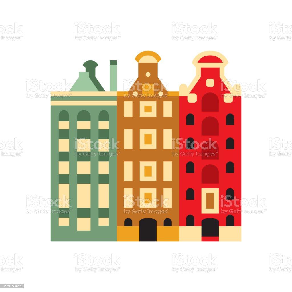 Holandaise Living Buildings Simplified Icon vector art illustration