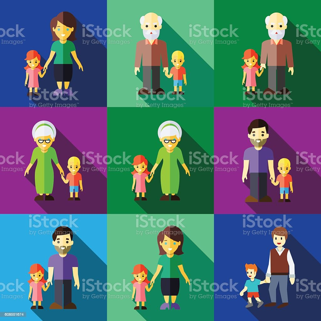 hold child arm flat icons set vector art illustration