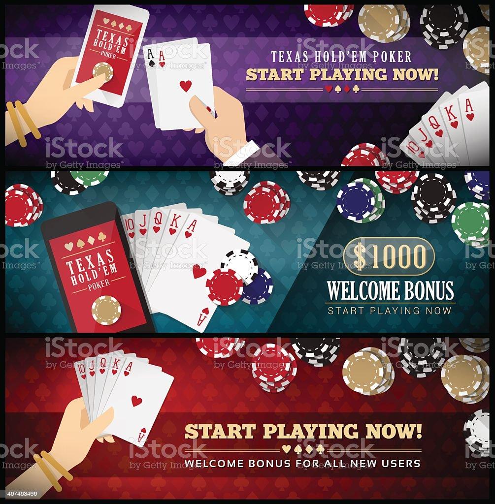 Hold'em poker banner set vector art illustration