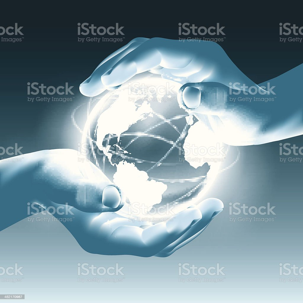 Holding a glowing earth globe in hands - care protection royalty-free stock vector art
