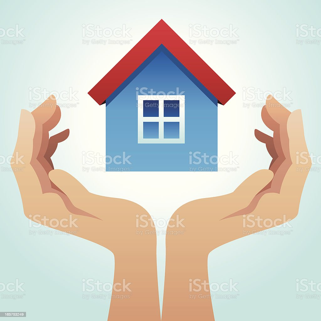 Holding a house royalty-free stock vector art