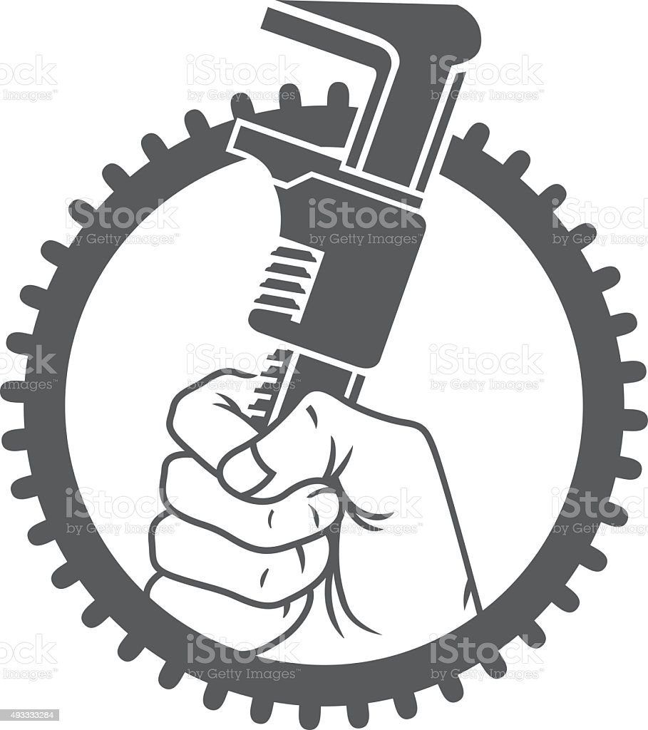 Holding a wrench vector art illustration