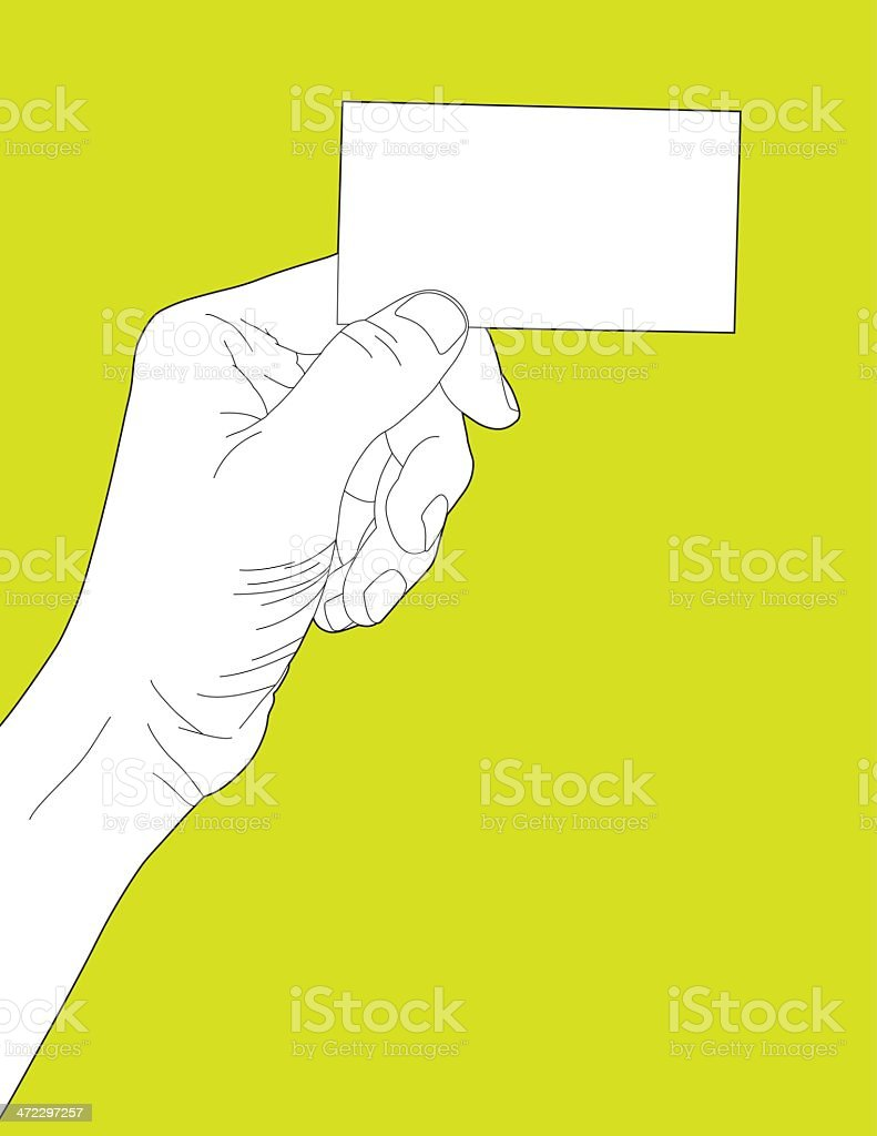 Holding Blank Business Card royalty-free stock vector art