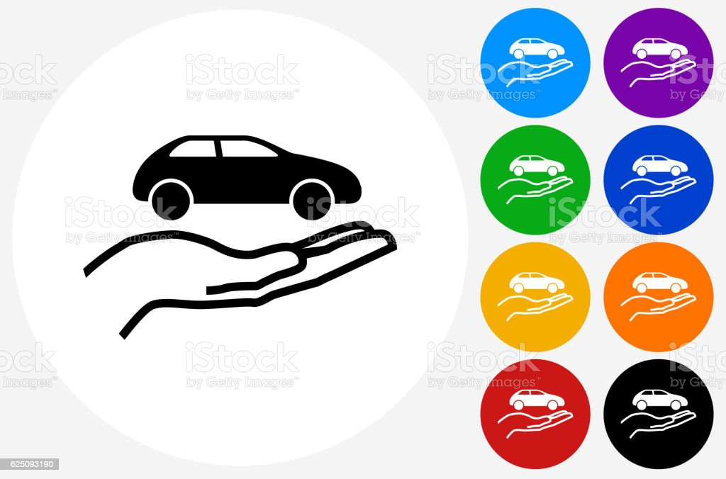Holding Car Icon on Flat Color Circle Buttons vector art illustration