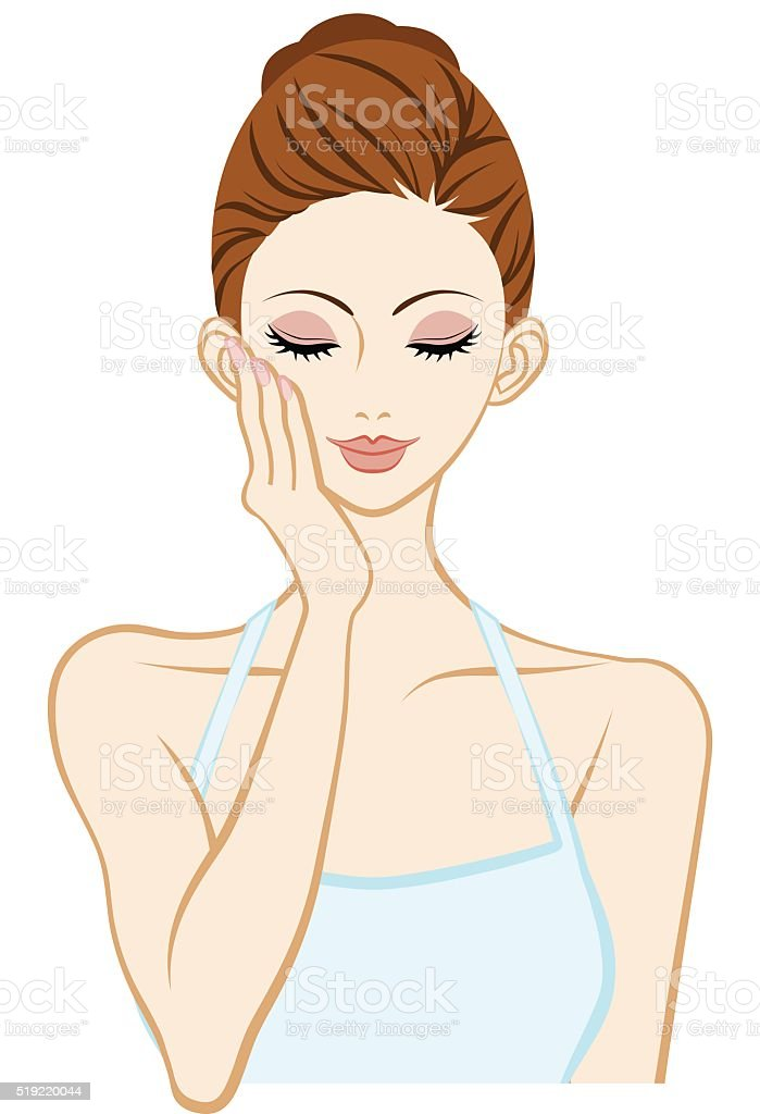Holding Cheek One hand - Skin care woman vector art illustration