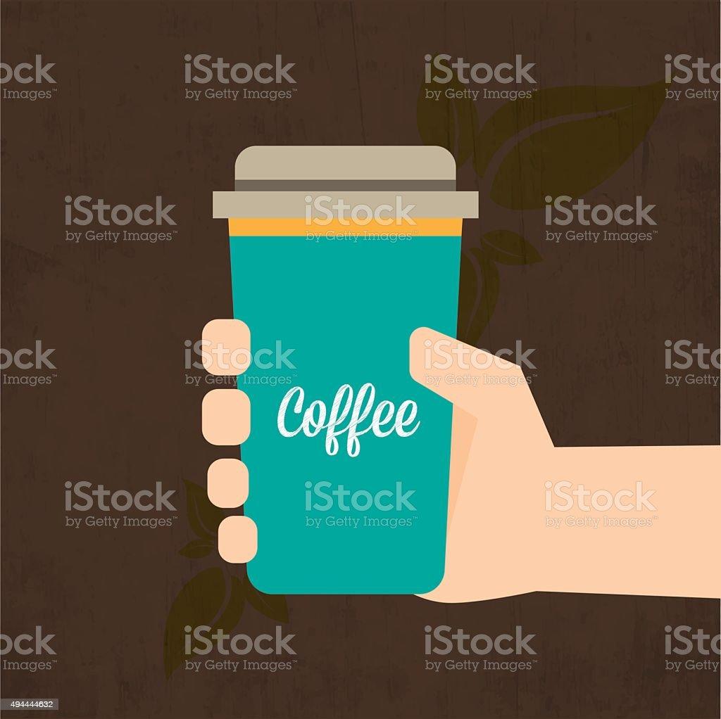 Holding Coffee vector art illustration