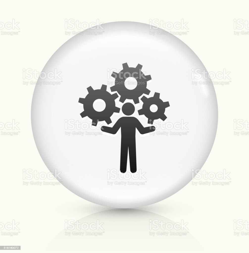 Holding Gears icon on white round vector button vector art illustration