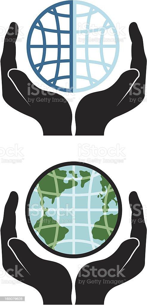 Holding globe vector art illustration
