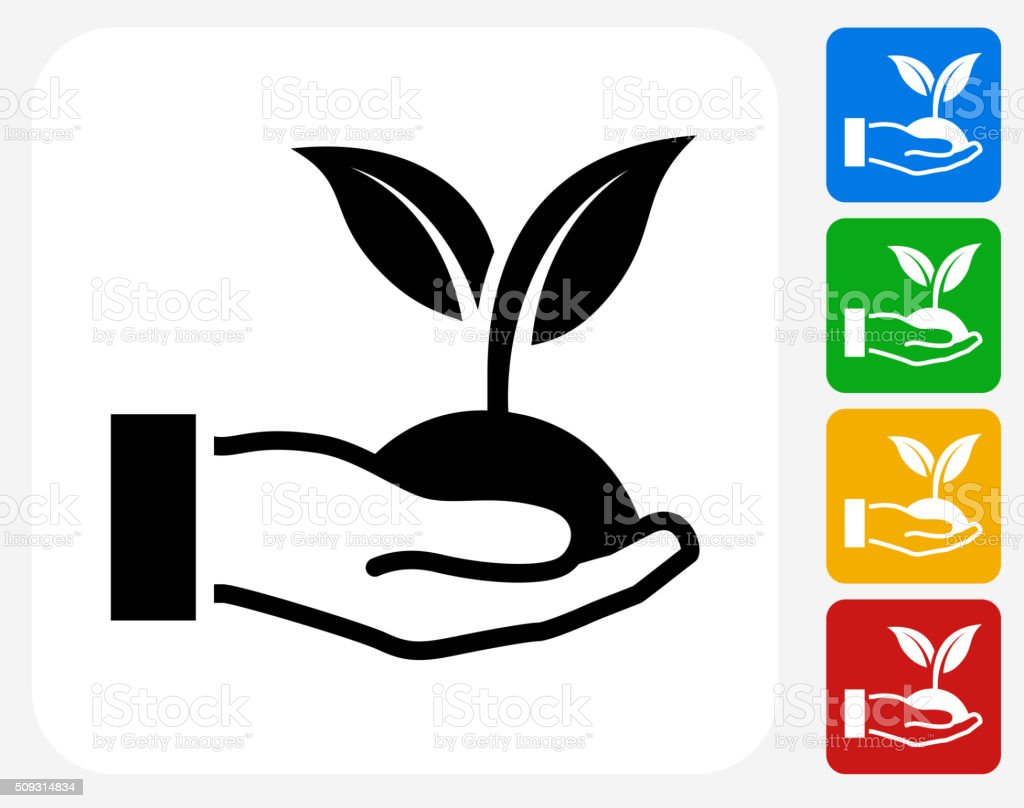 Holding Growing Plant Icon Flat Graphic Design vector art illustration