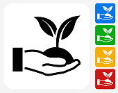 Holding Growing Plant Icon Flat Graphic Design