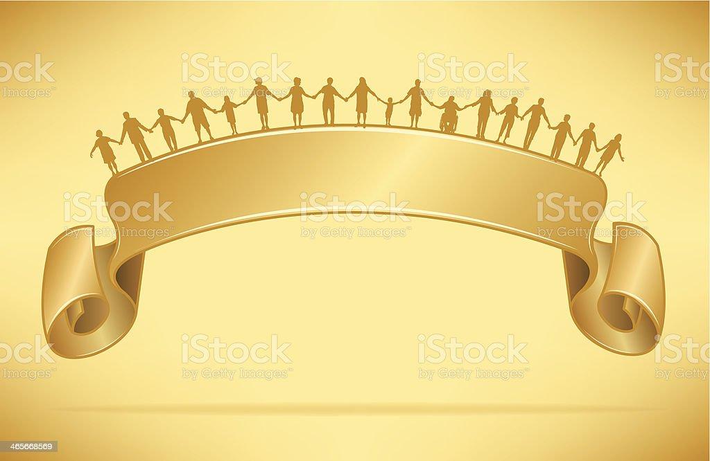 Holding Hands Golden Banner Background royalty-free stock vector art