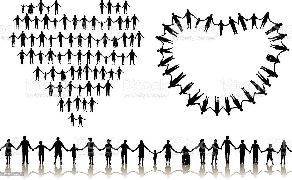 Holding Hands - Love, Heart, Relationships vector art illustration