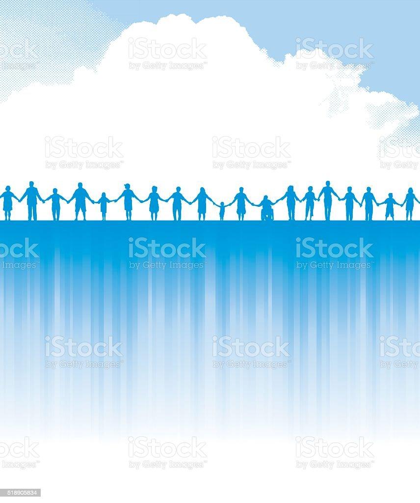 Holding Hands - Teamwork Success Background vector art illustration