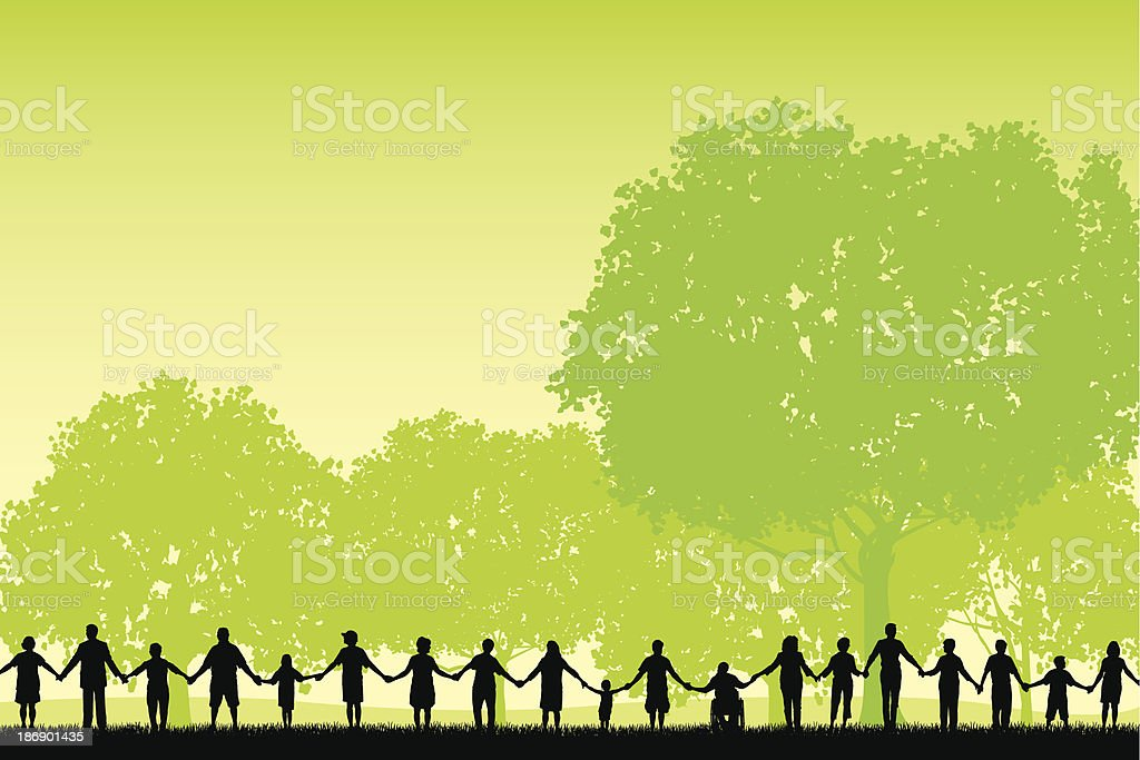 Holding Hands - United Community Field Background vector art illustration