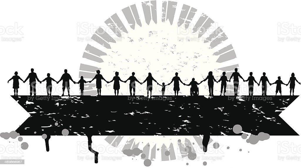 Holding Hands - United Community Grunge Background vector art illustration