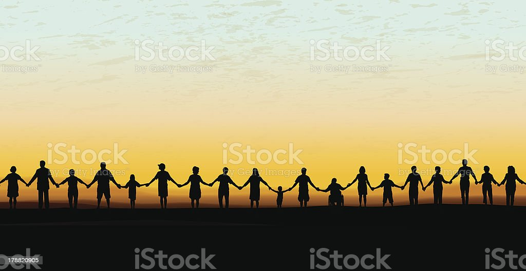 Holding Hands - United Community Sunset Background vector art illustration
