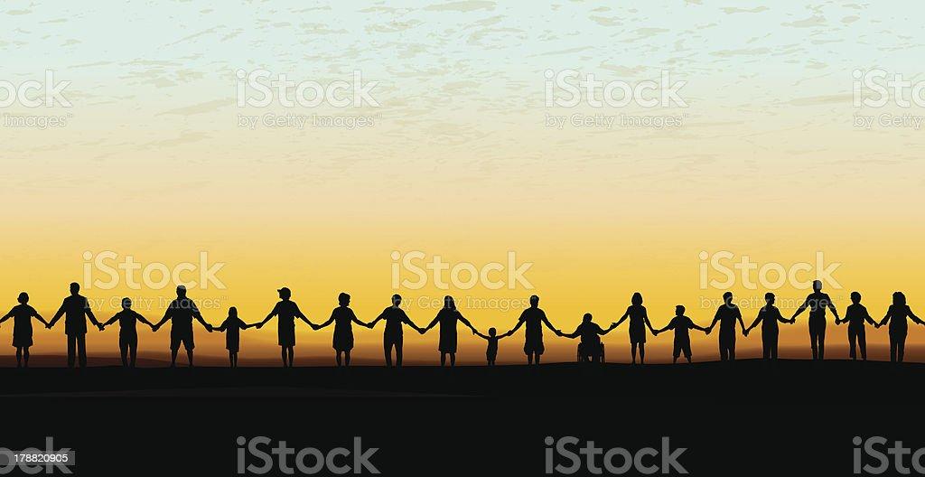 Holding Hands - United Community Sunset Background vector art illustration