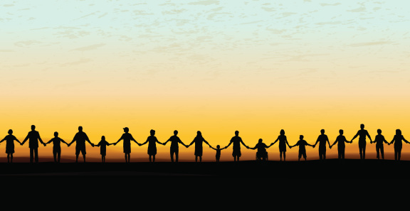 People Holding Hands In A Line
