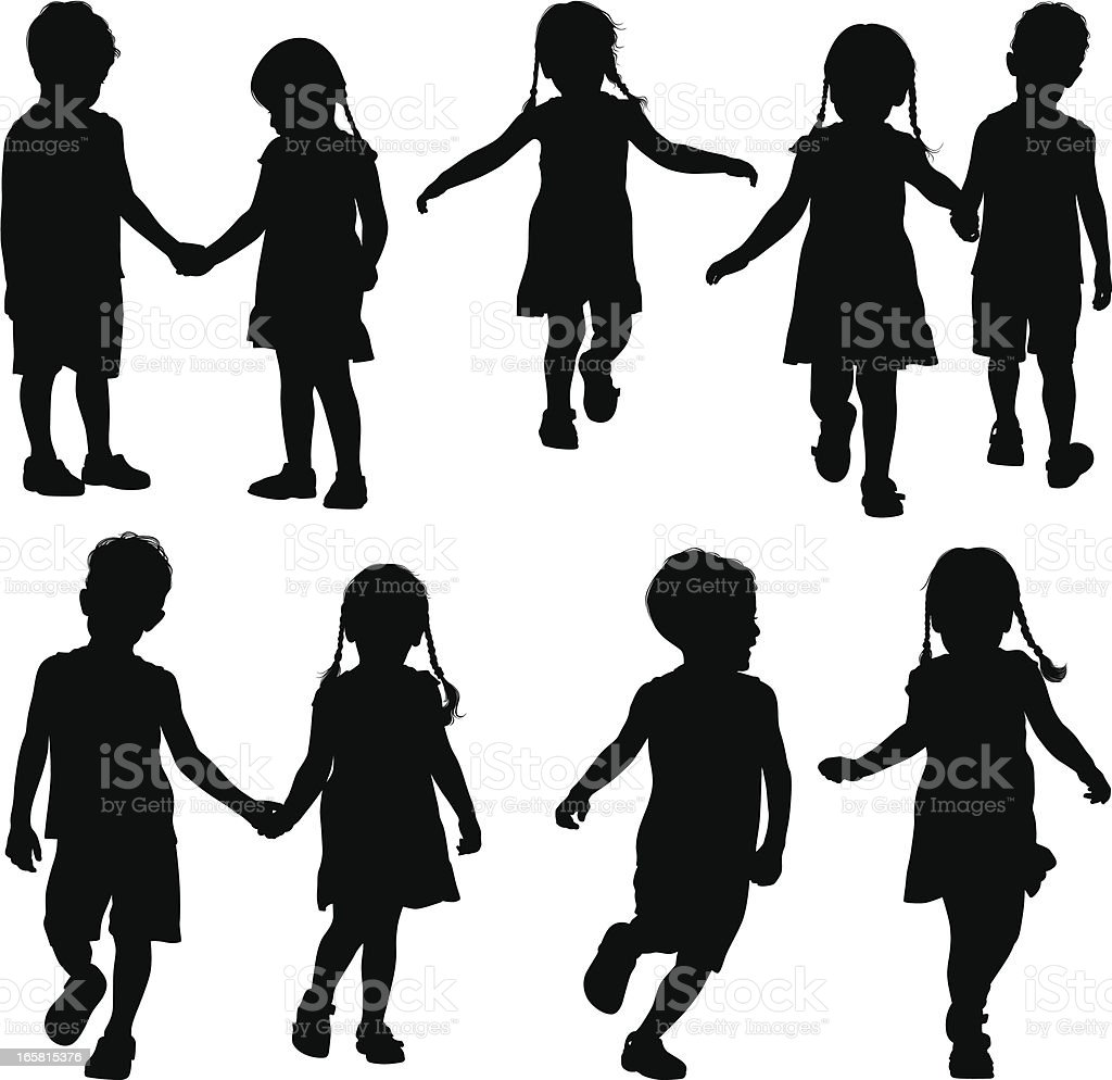Holding Hands vector art illustration