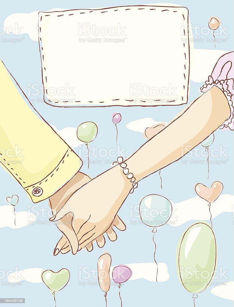 Holding hands wedding invitation royalty-free stock vector art