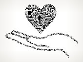 Holding Heart Farming and Agriculture Black Icon Pattern