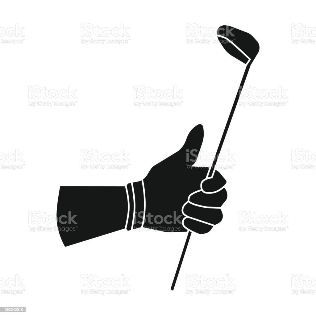 Holding of a golf club icon in black style isolated on white background. Golf club symbol stock vector illustration. vector art illustration