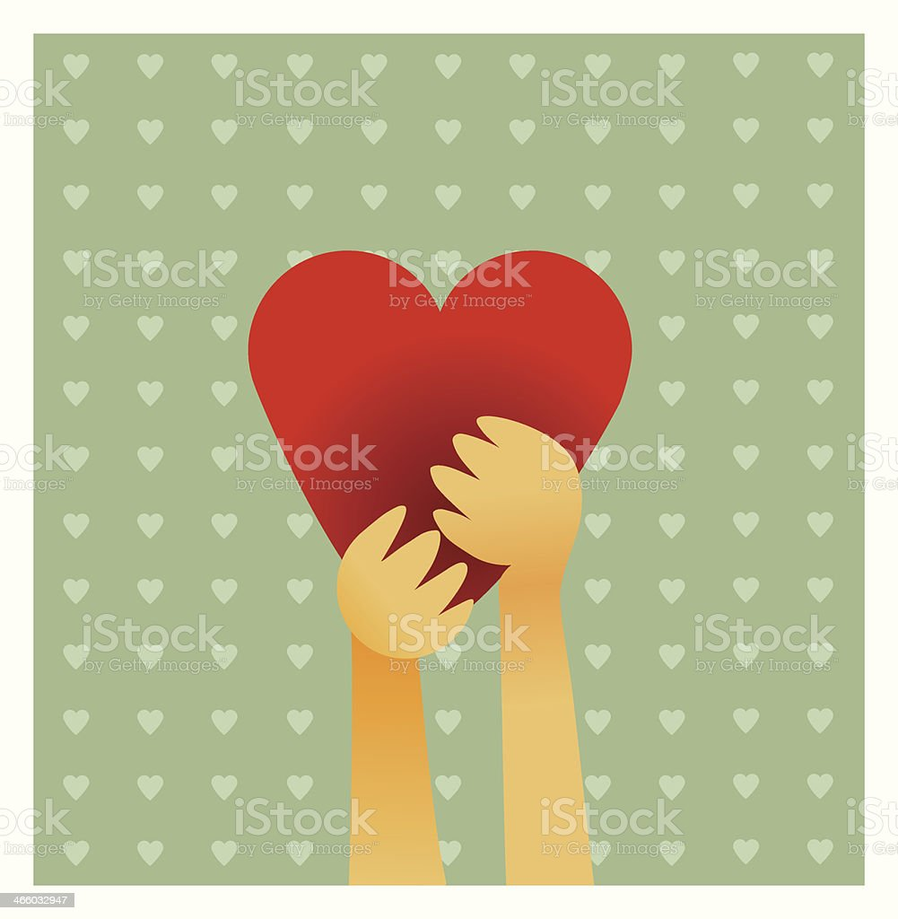 Holding on to your heart vector art illustration