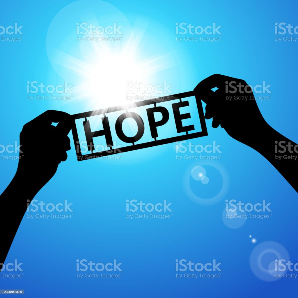 Holding paper words of hope vector art illustration