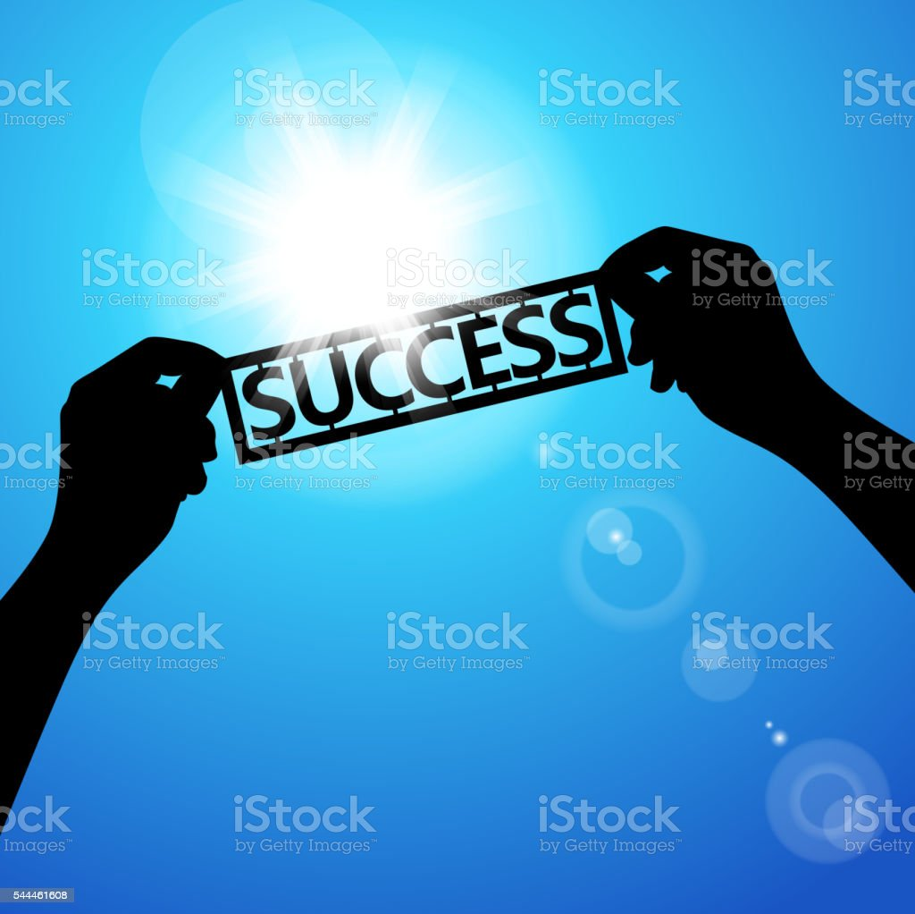 Holding paper words of success vector art illustration