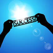 Holding paper words of success