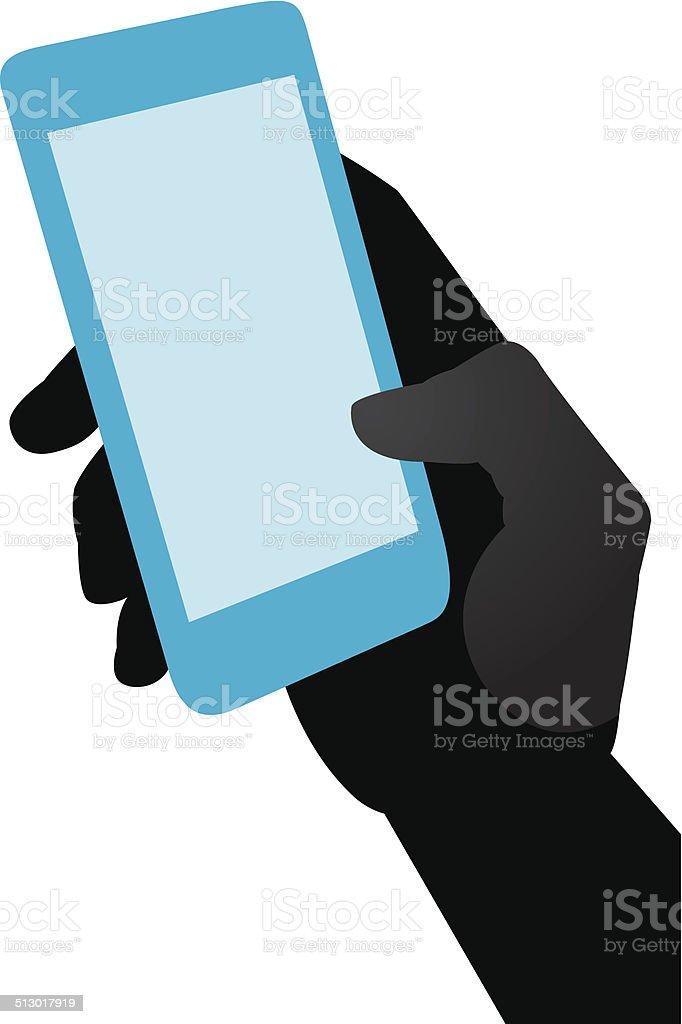 Holding Smart Phone Silhouette vector art illustration