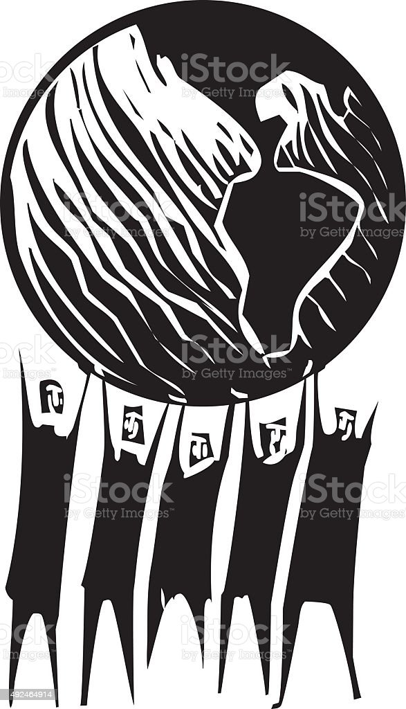 Holding up the Earth vector art illustration