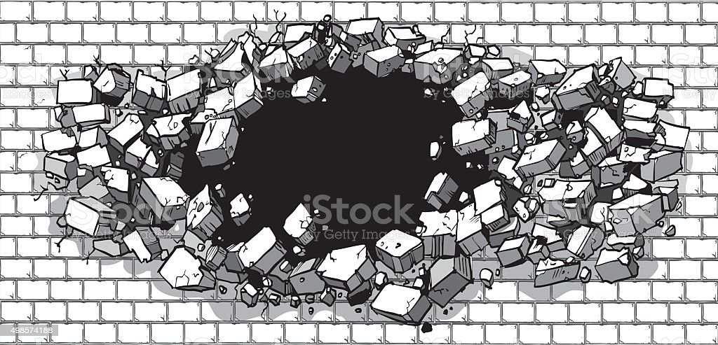 Hole Breaking Through Wide Brick Wall vector art illustration